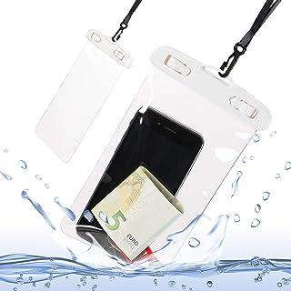 Relaxdays Handyhülle wasserdicht, 2er Set, für alle Handy Modelle, für Unterwasser, Festival, Smartphone Hülle, weiß