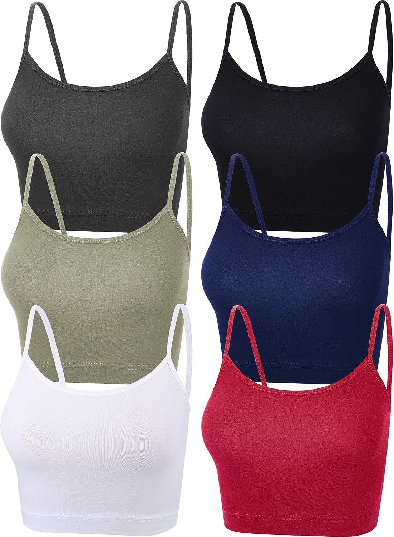 6 Pieces Women Crop Cami Top Sleeveless Spaghetti Strap Tank Top for Sports Yoga