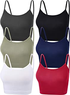 6 Pieces Women Crop Cami Top Sleeveless Spaghetti Strap...