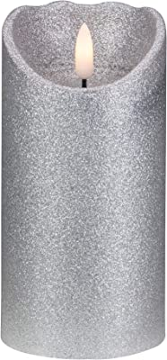 """""""6"""""""" Silver Glitter Flameless Battery Operated Christmas Decor Candle"""" Northlight YW90683)"""