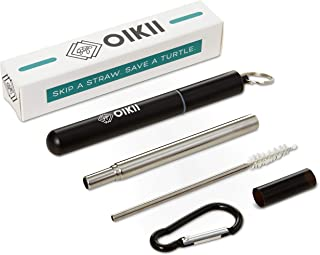 Oikii Reusable Drinking Straw - Stainless Steel, Collapsible, Portable - Dishwasher Safe - Includes Black/Rose Gold Travel Cases and Cleaning Brush