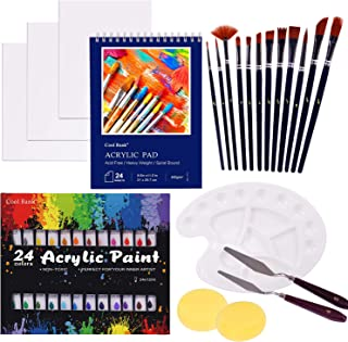 COOL BANK Acrylic Paint Set, 46 Piece Professional Painting Supplies Set, Includes 24 Acrylic Paints, 12 Painting Brushes,...