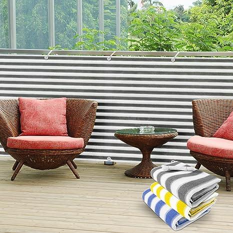 casa pura Pantalla de privacidad del balcón - Cortavientos | Pantalla de jardín para protección contra Rayos UV, Sol y Viento | Pantalla de PVC para ...