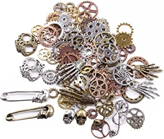 BIHRTC 140 Gram (Approx 92pcs) DIY Assorted Color Antique Metal Steampunk Watch Gear Cog Wheel Skull Musical Note Skull Hand Safety Pin Charms Pendant for Crafting, Jewelry Making Accessory