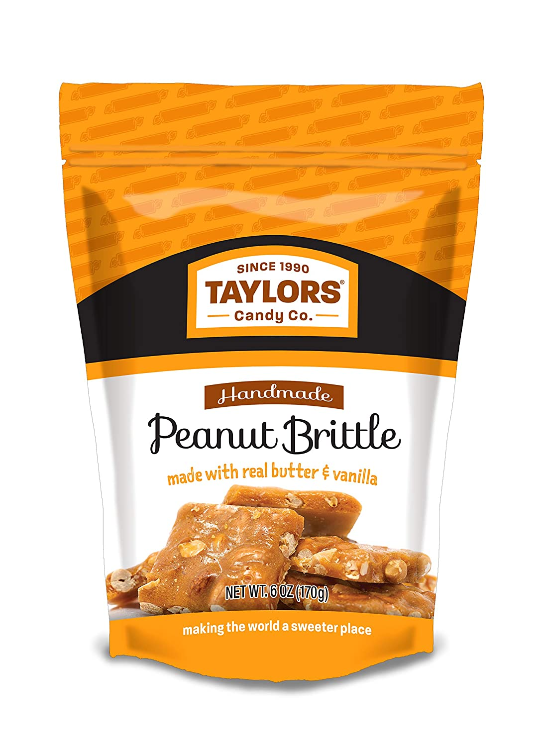 NEW low-pricing before selling ☆ Taylors Handmade Peanut Brittle in bags re-closeable gusset 5 a