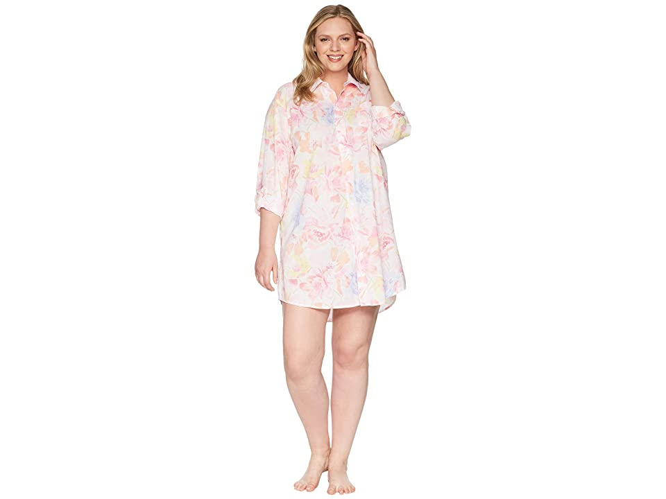 LAUREN Ralph Lauren Plus Size Long Sleeve Roll Tab His Shirt Sleepshirt (White Multi Floral) Women