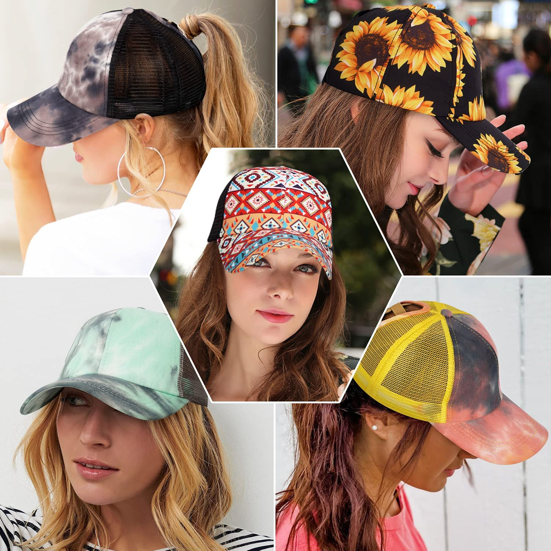 Fanadith Criss Cross Ponytail Hat Women Mesh Distressed Baseball Cap Messy Bun Trucker Hat High Pony Cap