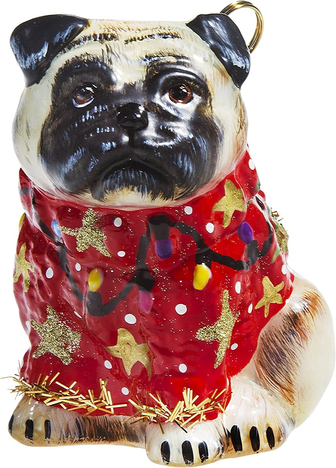 Pug Fawn in Ugly Christmas Sweater Dog Polish Tree Ornament Pet Decoration New