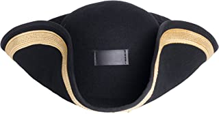 Black Wool Pirate Buccaneer Civil War Patriot Pilgrim Tricorn Hat - Real Movie Quality