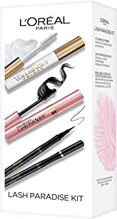 L'Oreal Paris Makeup, Voluminous Primer, Lash Paradise Mascara, Infallible Liquid Super Slim Eyeliner, 3 Count