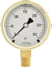 """NOSHOK 300 Series Brass Liquid Filled Dial Indicating Pressure Gauge with Bottom Mount, 2-1/2"""" Dial, +/-1.5% Accuracy, 0-300 psi Pressure Range"""