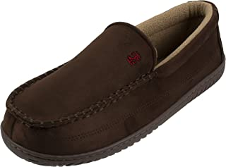 Men's Classic Two-Tone Moccasin Slipper, Winter Warm Slippers with Memory Foam, Size 8 to 13