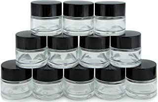 Vivaplex, 12, Clear, 1 oz, Round Glass Jars, with Inner Liners and black Lids
