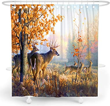 DESIHOM Forest Shower Curtain Tree Deer Shower Curtain Fall Nature Shower Curtain Woodland Shower Curtain Country Shower Curt
