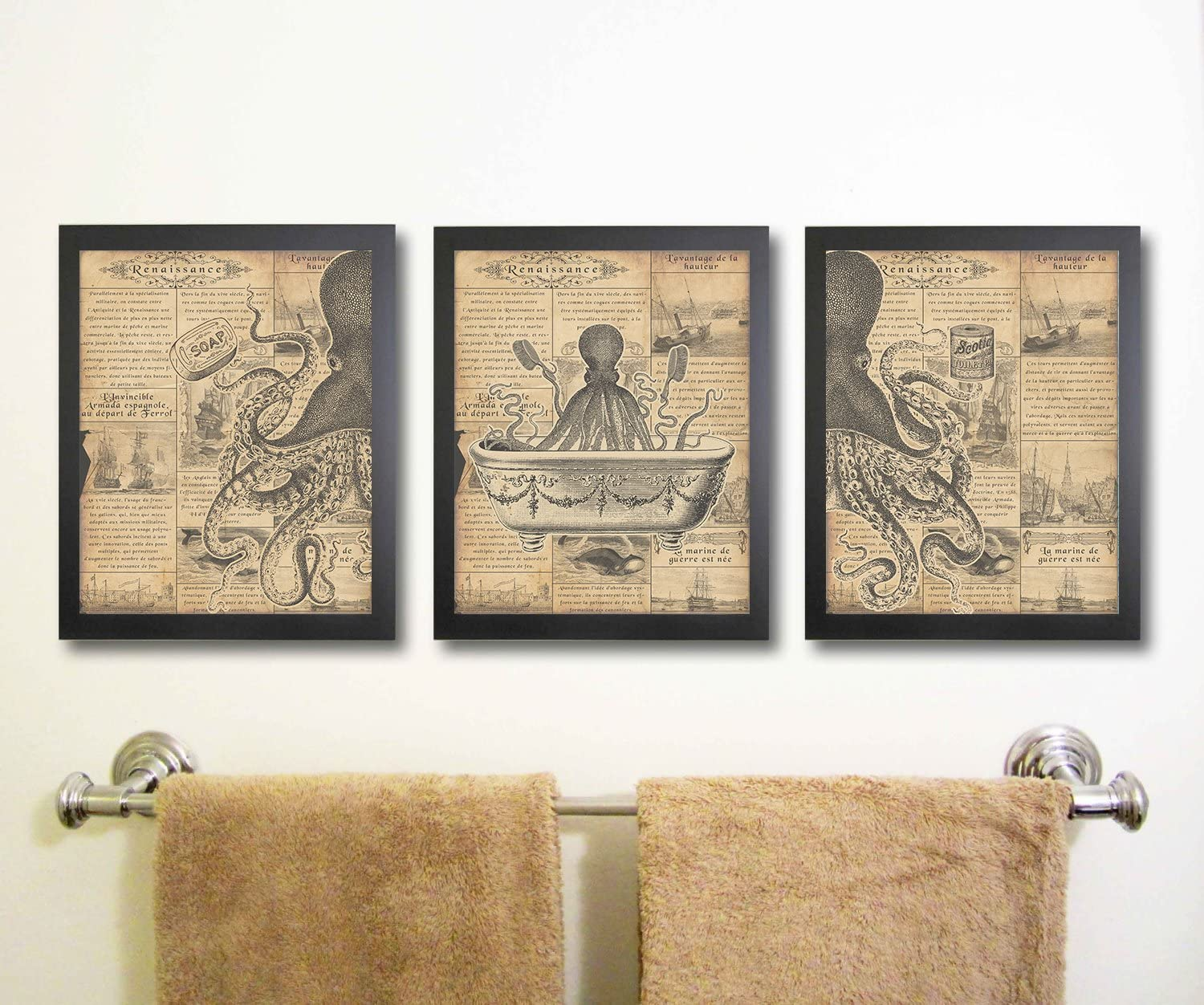Amazon Com Octopus Funny Vintage Bath Image Nautical Wall Art Prints Set Of 3 Bathroom Blue Posters Prints
