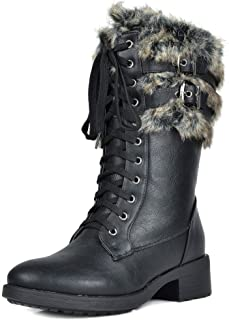 DREAM PAIRS Women's Faux Fur Mid Calf Riding Combat Boots