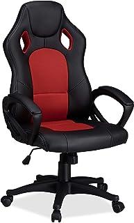 comprar comparacion Relaxdays Silla Gaming XR9 Racing, Piel Sintética, Rojo, 110 x 62 x 60 cm