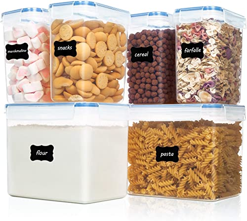 Vtopmart Airtight Food Storage Containers 6 Pieces - Plastic PBA Free Kitchen Pantry Storage Containers for Sugar,Flo...