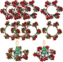 8 Pieces Christmas Votive Candle Holders Christmas Candle Rings Red Artificial Berry Candle Rings Wreaths with Pine Cones ...