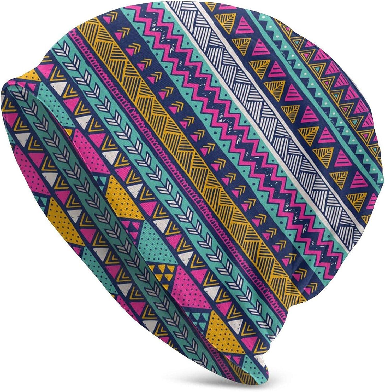 Gianlaima Bohemia Boho Colorful Stripe Aztec Slouchy Beanies Knitted Hat Skull Cap for Men Women Headwear Sleep Cancer Chemo, Black7, One Size