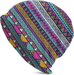 Sponsored Ad - Gianlaima Bohemia Boho Colorful Stripe Aztec Slouchy Beanies Knitted Hat Skull Cap for Men Women Headwear S...