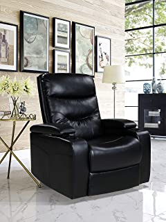 Relax A Lounger LED Cup-holder & Storage Faux Leather, Black