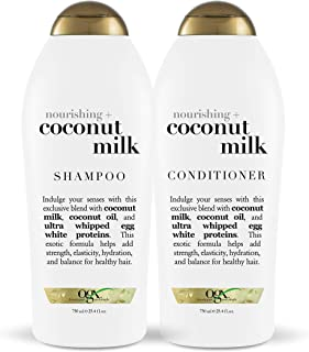 OGX Nourishing + Coconut Milk Shampoo & Conditioner Set, 25.4 Ounce (Set of 2)