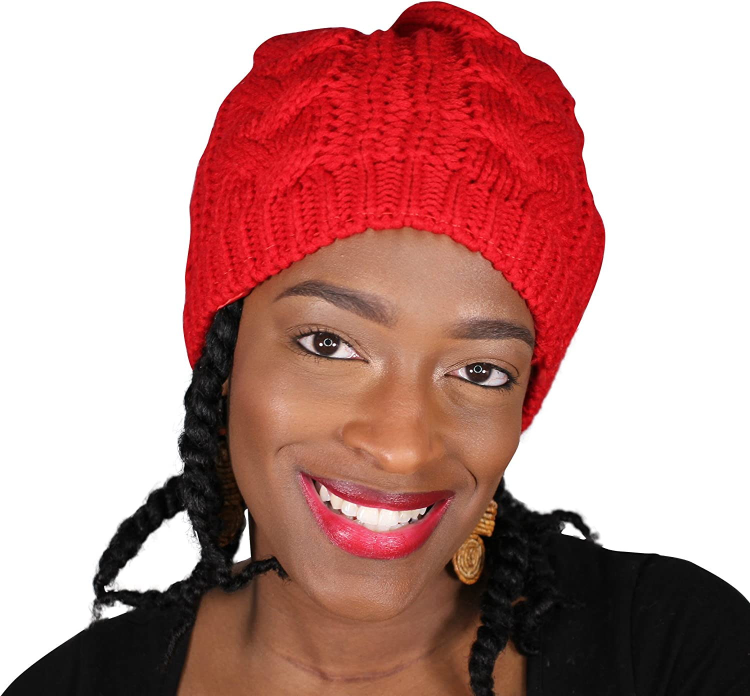 Always Eleven Vibrant color Satin Lined Knit Beanie Hat