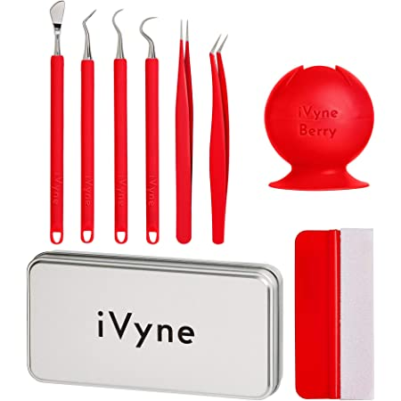 Pink HTV and Adhesive Vinyl iVyne 2pcs Basic Berry Essential Silicone Vinyl Weeding Tools Kit with Tweezer and Weeder for Cricut//Silhouette Cameo Craft