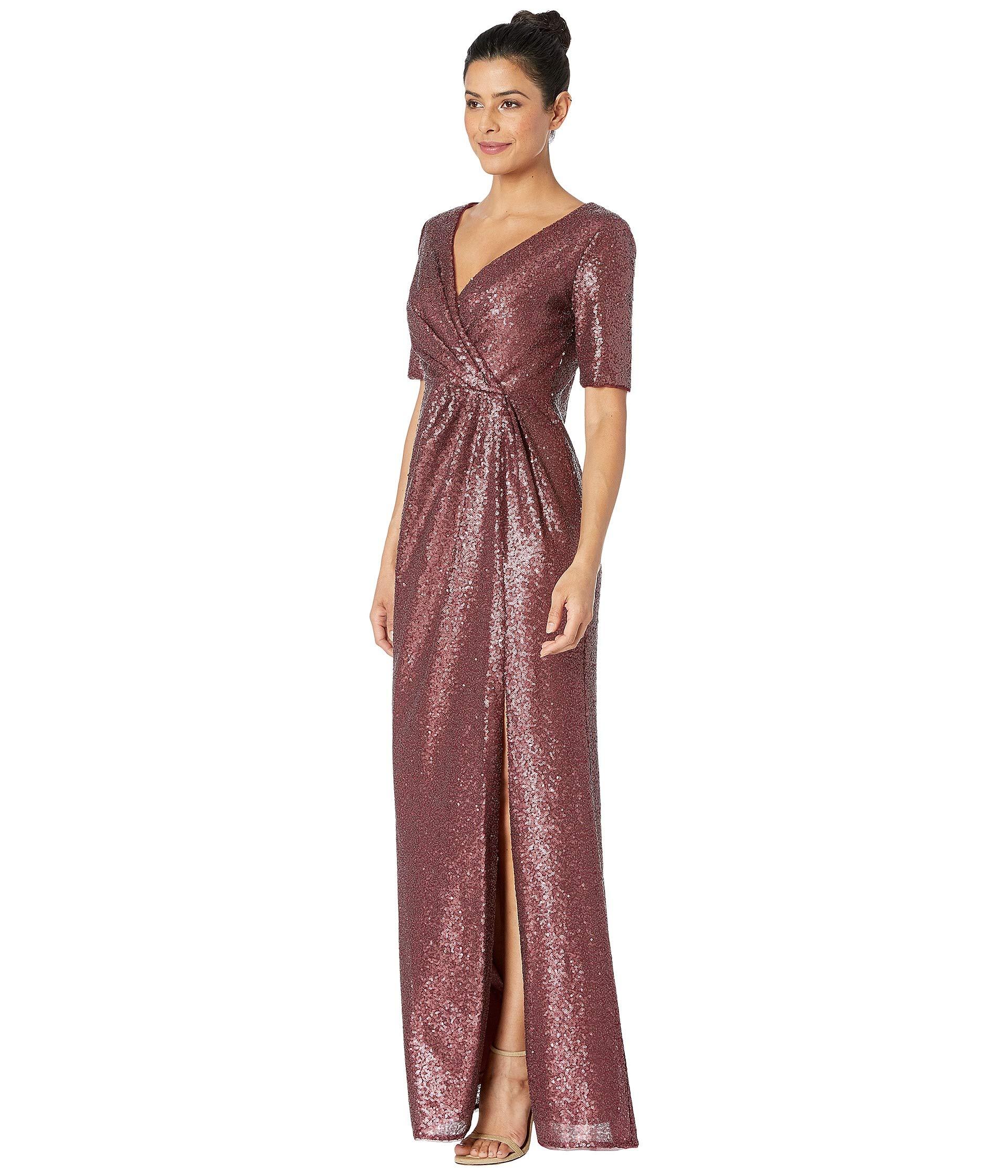 Dress Papell Ruby Sequin Dark Long Adrianna qTOtd7w7