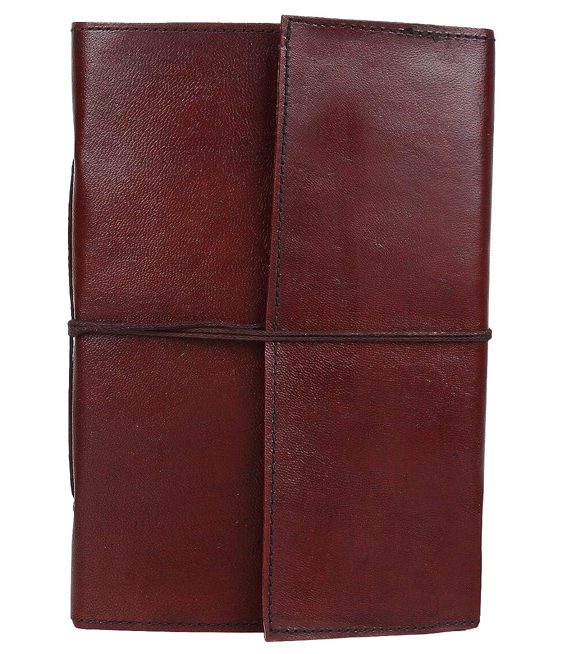 衝突積分一回レザージャーナルライティングノートブック – アンティークハンドメイドレザーバウンド デイリーメモ帳 メンズ&レディース 罫線なしペーパー 7 x 5インチ アートスケッチブック、旅行日記&ノートブック 書いて書き込みするのに最適なギフト