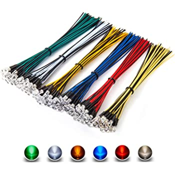 [UL Recognized] Chanzon 120pcs 12V 5mm LED Diode Lights 7.9 inch Pre Wired (6 Colors x 20pcs) Assorted Kit (Transparent Clear Round Lens) White Red Green Blue Yellow Warm-White Emitting LED Assortment