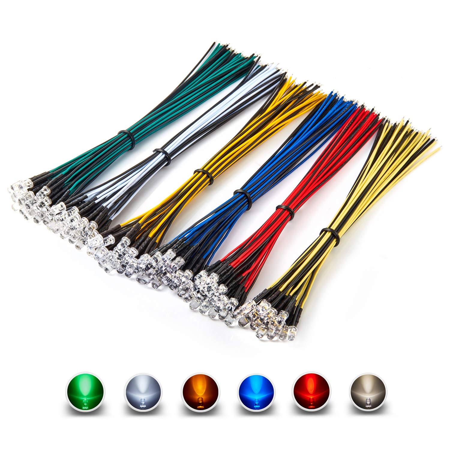 [UL Wire] Chanzon 120pcs (6 Colors x 20pcs) 12V 5mm LED Diode Lights 7.9 inch 24awg Pre Wired Assorted Kit (Transparent Clear Round Lens) White Red Green Blue Yellow Warm-White Emitting LED Assortment