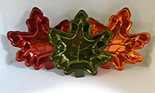 FALL AUTUMN HALLOWEEN DECORATIVE MAPLE LEAF CANDY DISHES SET OF 3 COLORS RED GREEN AND BURNT ORANGE OR USE THEM AS WALL DECORATIONS
