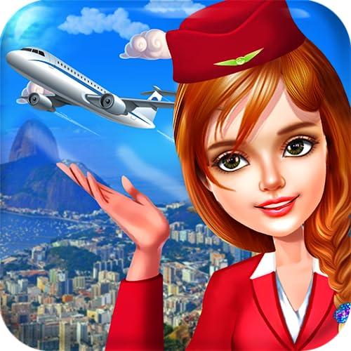 Fluggesellschaft Stewardess und Flugbegleiter - Professionelle Kabinenbesatzung in einer berühmten Welt Reisende Fluggesellschaft