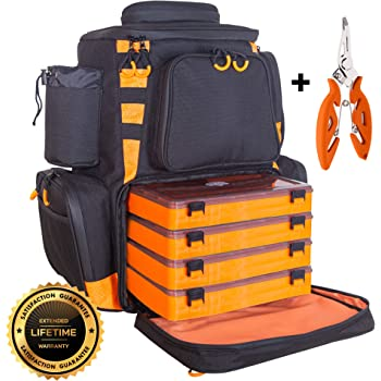etacklepro Fishing Backpack | Waterproof Tackle Bag with Protective Rain Cover | Includes 4 Tackle Boxes | Stainless Steel Fishing Pliers and Lanyard
