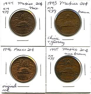 Lot of 4 Mexico 20 Centavos: 1943, 1944, 1945, 1946 #9278