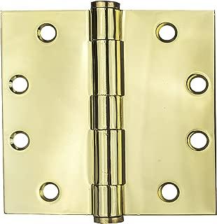 Global Door Controls 4.5 in. x 4.5 in. Bright Brass Ball Bearing Hinge - Set of 3