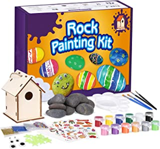 NUOBESTY Painting Kit for Kids Arts and Crafts Paint Tool Set with Assorted Rocks, Acrylic Paints, Paintbrushes and Stickers