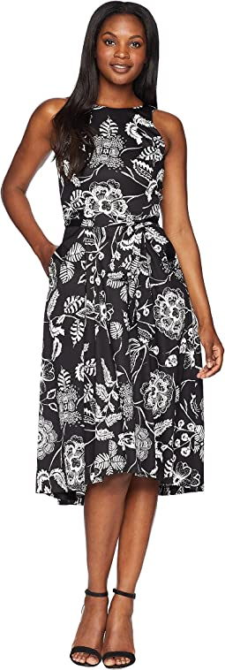 Tahari by ASL Sleeveless Printed Midi Fit and Flare Dress