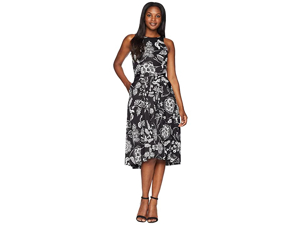 Tahari by ASL Sleeveless Printed Midi Fit and Flare Dress (Black/White) Women