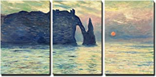 wall26 - 3 Piece Canvas Wall Art - The Cliff, Etretat, Sunset by Claude Monet - Modern Home Decor Stretched and Framed Ready to Hang - 24