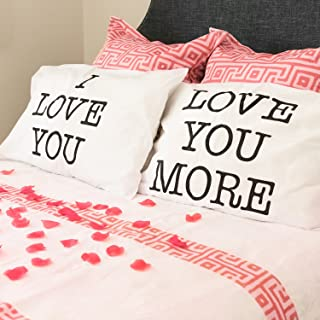 Best Super Z Outlet I Love You & Love You More Cotton Polyester Standard Size Pillowcase Pair for Bedroom, Home Decoration Set, Anniversary Review