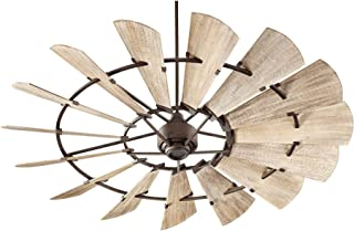 Quorum 197215-86 Windmill Ceiling Fan in Oiled Bronze with UL Damp Weathered Oak Finished Blades