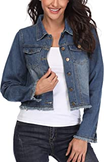 MISS MOLY Women's Cropped Denim Jackets, Frayed Distressed Long Sleeve Button Up Washed Jean Jacket Coat