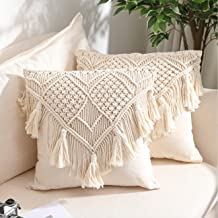 Throw Pillow Covers, Macrame Cushion Case, Woven Boho Cushion Cover for Bed Sofa Couch Bench Car Home Decor, Comfy Square ...