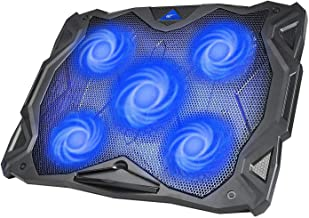 """HAVIT Laptop Cooling Fan, Portable Cooling Pad with 5 Quiet Fans and 2 USB Ports, for Up to 17"""" Laptops, F2068 (Black+Blue)"""