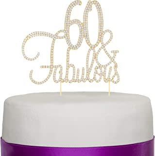 Ella Celebration 60 & Fabulous Cake Topper 60th Birthday Party Supplies Gold Decorations (Gold)