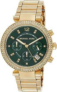 ساعة مايكل كورس للنساء MK6263 باركر ذهبي كرونوغراف بمينا خضراء
