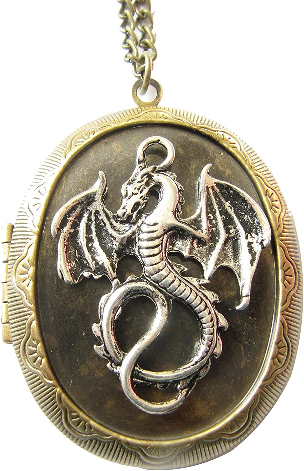 Antique Dragon Popular product Locket New item Necklace Gift-Vintage Jewelry Style Oval